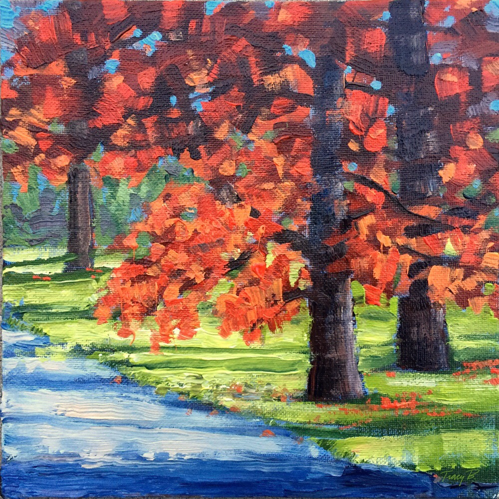 "I continue to do studies on trees. 8x8"" Acrylic on Canvas Board"